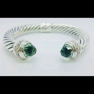 RARE David Yurman 10mm Diamond/  Prasiolite Cuff